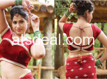 Maroon Velvet Designer Saree Blouse at Atsdeal Fashions
