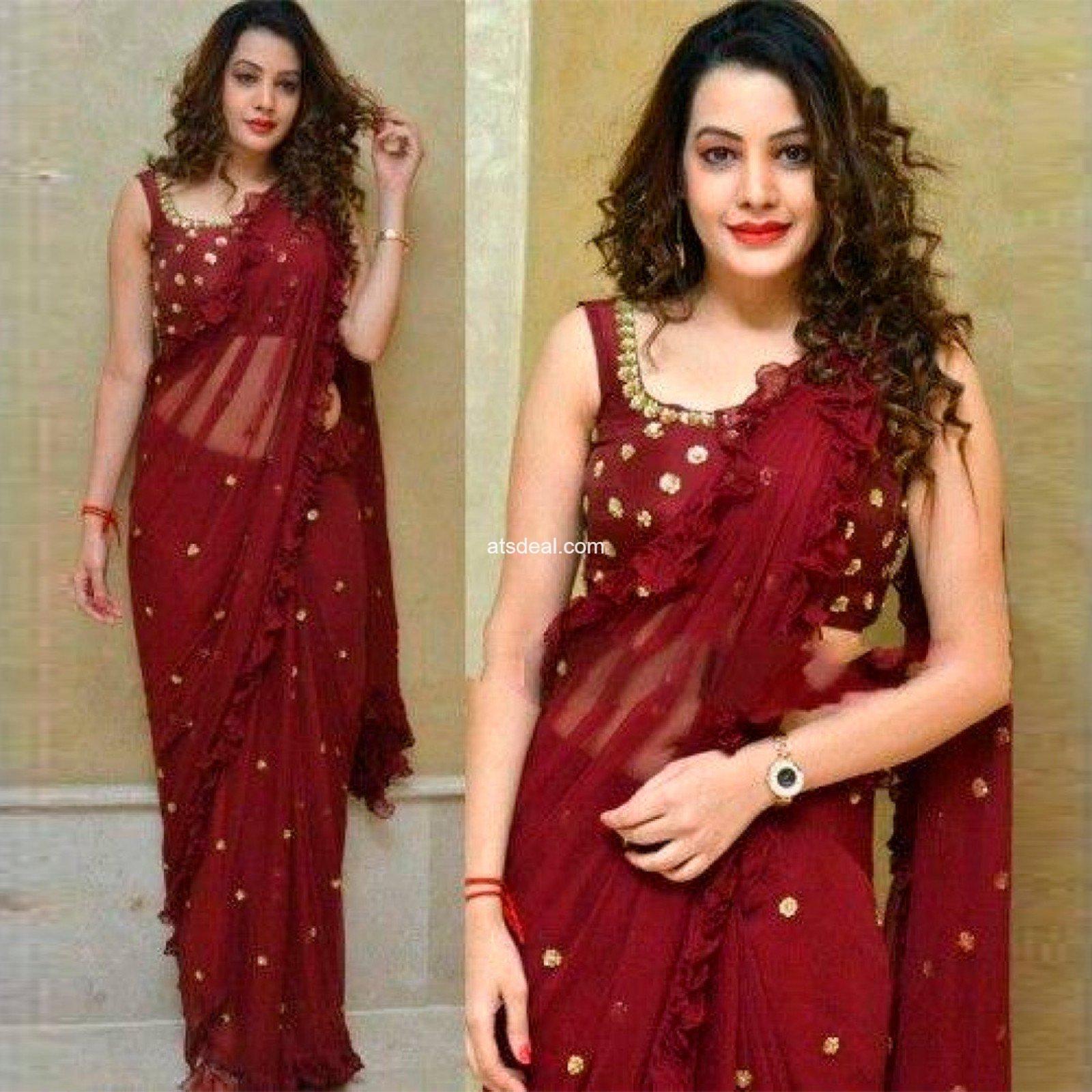 Marroon color silk saree all festivals