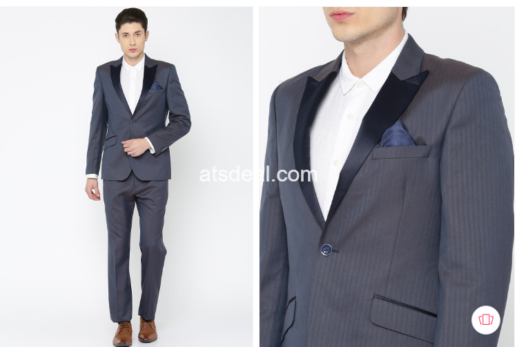 Men Blue Single-Breasted Striped Regular Contemporary Fit Party Suit