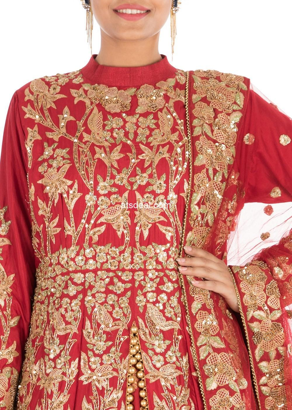 Red Hand Embroidered Jacket Style Bridal Lehenga