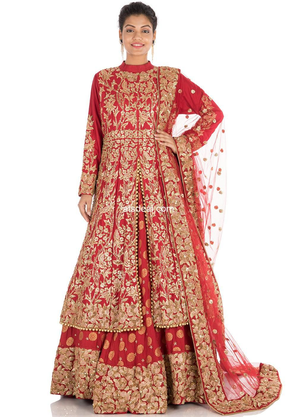 Red Hand Embroidered Jacket Style Bridal Lehengas