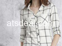 Women Off white Checked Casual Shirt