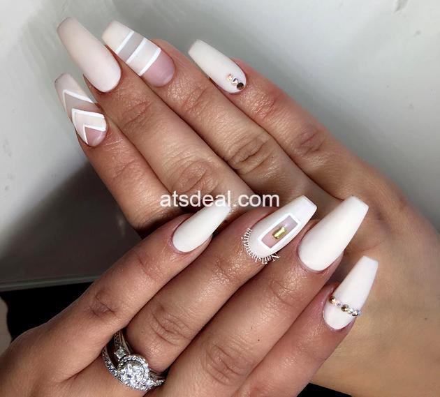 negative space white nails