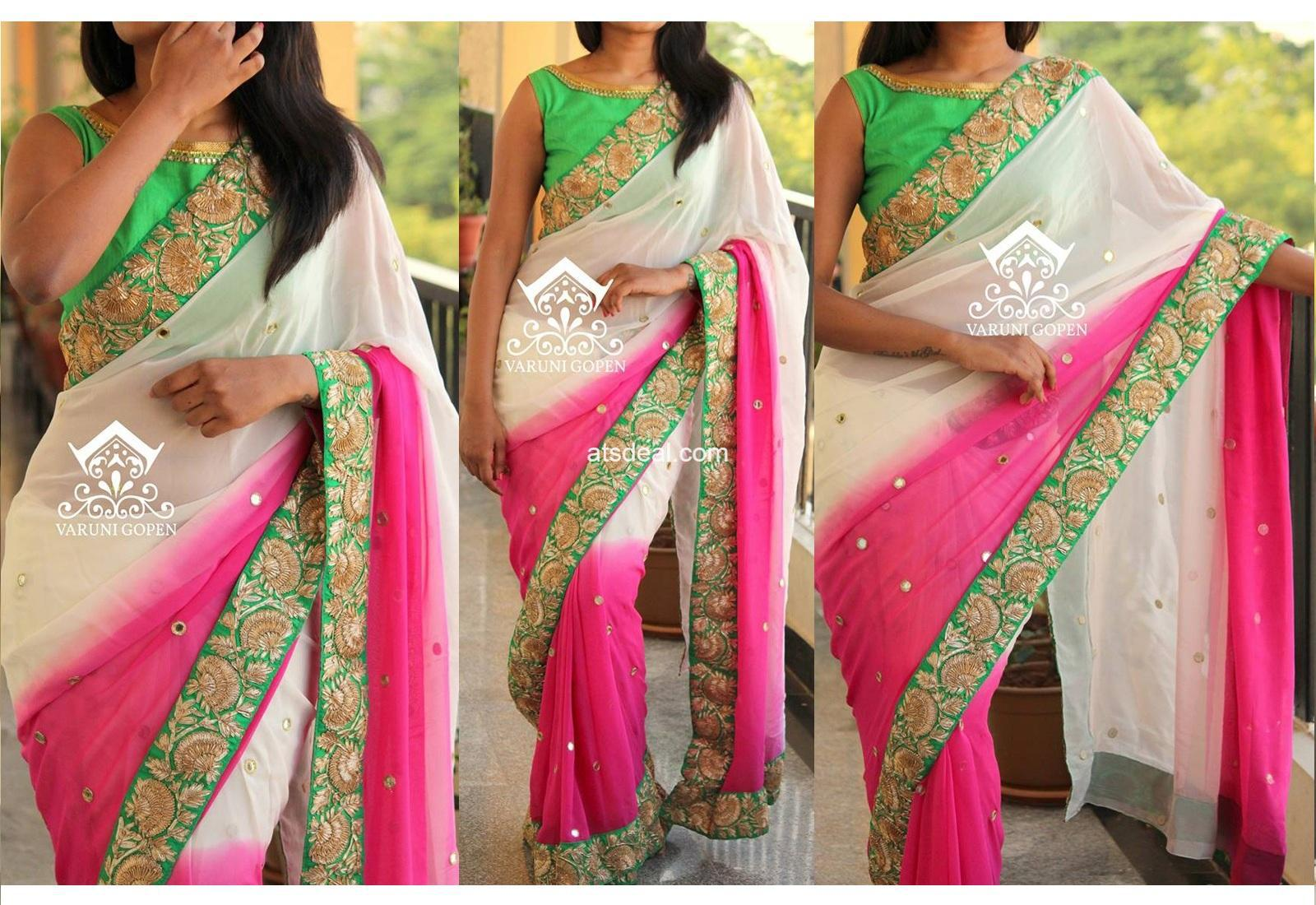 white pink color pedding georgette saree